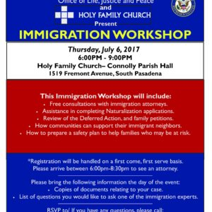 Join Us for an Immigration Workshop Thursday, July 6, 2017