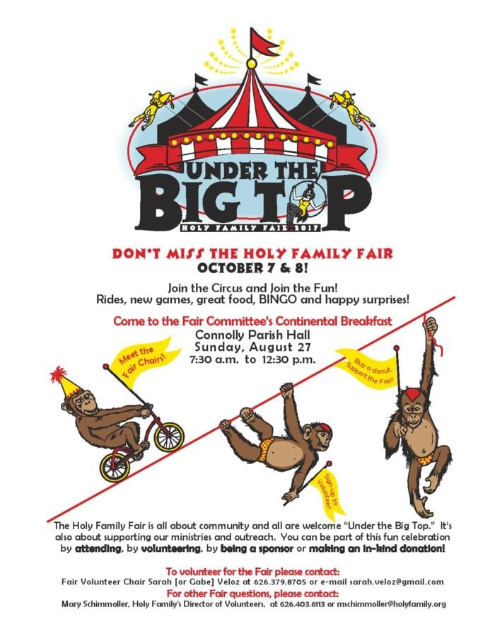 Holy Family Fair- Volunteer! Get Tickets! Buy a Raffle Ticket! August 27th Continental Breakfast