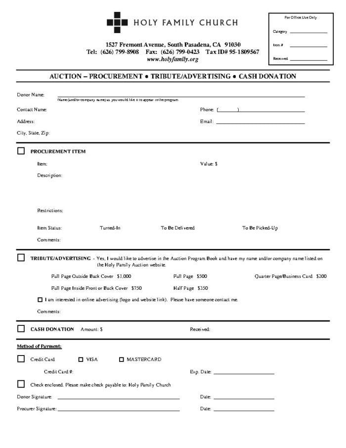 2018 Auction Procurement Form