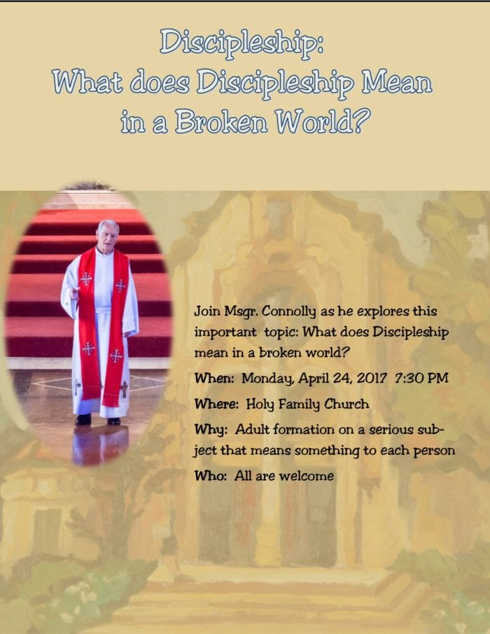 Discipleship Presentation on Monday April 24