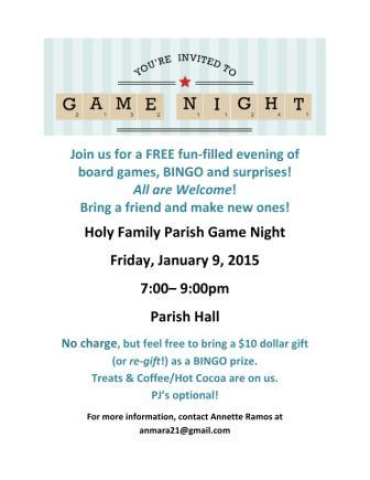 Don't miss the new FREE Game Night at Holy Family! January 9