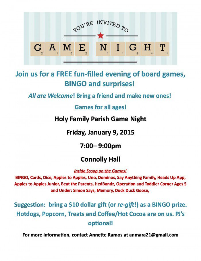Don't miss the new  Game Night at Holy Family! January 9