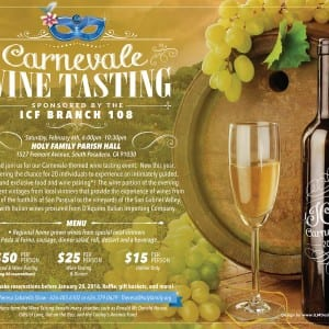 "Join Us for ICF ""Carnevale"" Wine Tasting!"