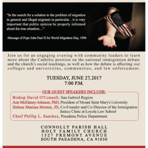 Immigration Panel, Tuesday, June 27, Featuring Bishop Dave O'Connell