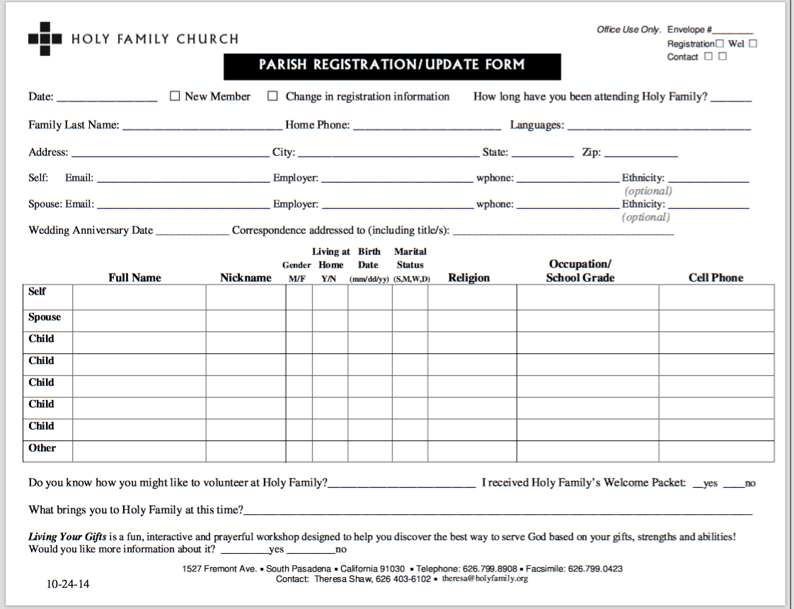 church phone directory template - parish registration update form holy family church