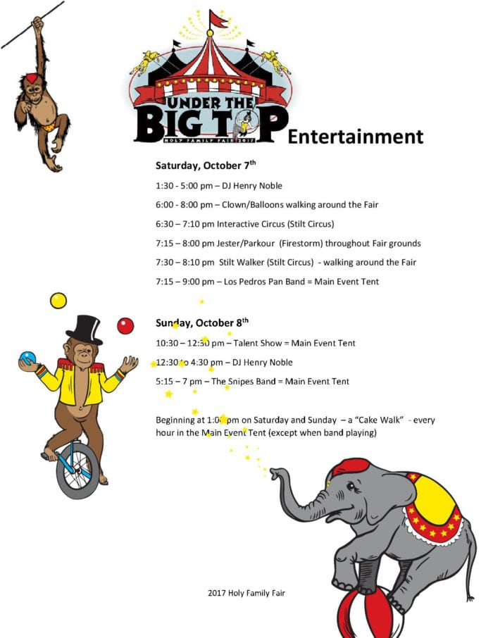 Under the Big Top Entertainment – Holy Family Fair