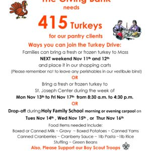 The Giving Bank Needs Turkeys!